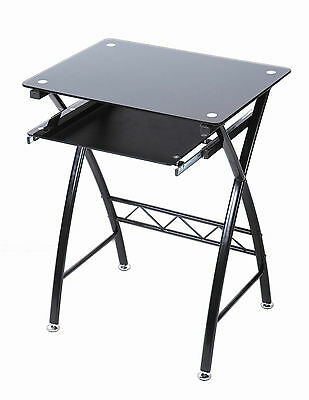 New Black Glass Computer Desk Workstation with Pull-Out Shelf Keyboard Office