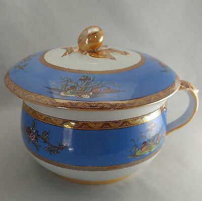 Victorian blue and gold lidded chamber pot with handle