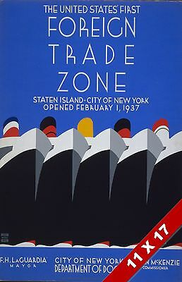Vintage Us Foreign Trade Zone Staten Island New York Art Retro Wpa Poster Print