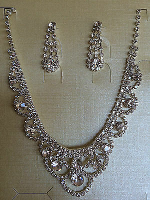 Crystal Statement Necklace & Earrings Set Prom Formal Bridal Bridesmaid Diamante