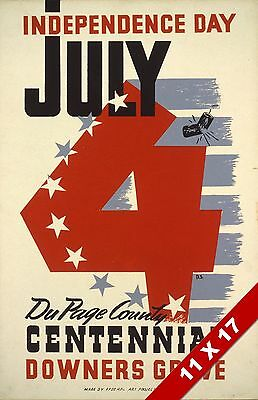 Vintage Independence Day 4Th Of July Downers Grove Il Art Retro Wpa Poster Print