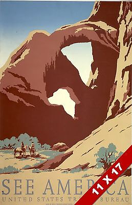 Vintage See America Arches Utah National Park Art Retro Wpa Travel Poster Print