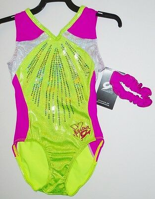 GK Elite Gymnastics Leotard Adult Small Lemon Lime/White/Cerise FREE SHIPPING