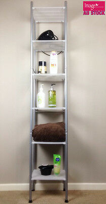 6Level Metal Tower Shelf Chrome Wire Bathroom Storage Display Rack 917129E