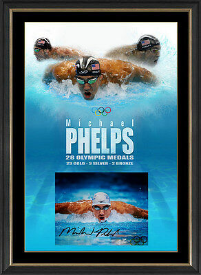 "Michael Phelps Hand Signed ""Olympic Legend"", Framed"