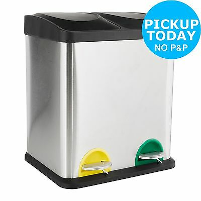 HOME Recycling Pedal Bin 30L 2 Compartments - Silver-From the Argos Shop on ebay