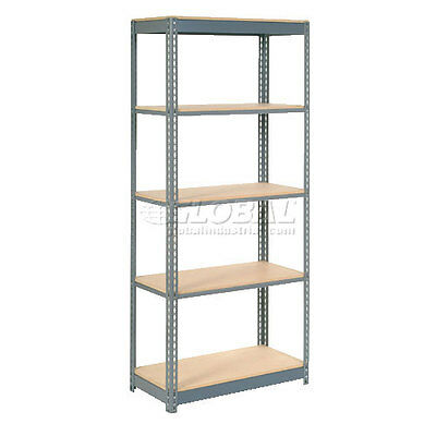 "Heavy Duty Shelving 36""W x 12""D x 72""H With 5 Shelves, Wood Deck"