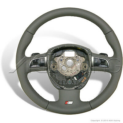 Audi A4 A6 A8 S-Line Agate Grey Leather Steering Wheel Tiptronic Gear Shifters