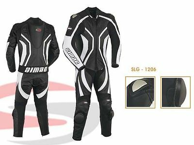 Motorcycle Motorbike CE Approved Leather Racing suit One Pcs black/White