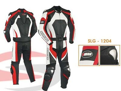 Mens Motorcycle Motorbike CE Approved Leather racing Suit 2-Pcs Black/Red
