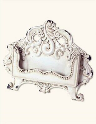 Shabby Chic French Country Antique White Business Card Holder Desk Display