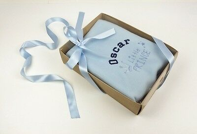 Personalised Blue 'Little Prince' Fleece Baby Blanket in Gift box, Ribbon & Tag