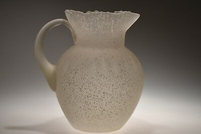 c. 1892 GRANITE WARE by Northwood Satin Crystal w/White Spatter Crimped Pitcher