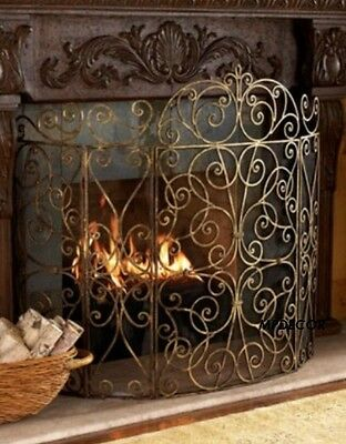 "French Scroll Old World Antique Gold Iron Fireplace Screen 5 Panel Large 62""W"