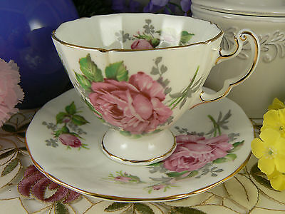 Vintage Adderley Roses w Gray & Green Teacup & Saucer Fine Bone China England