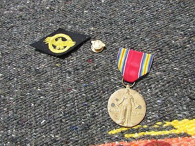 Lot of 3 Vintage U.S. Military WWII Medal,  Button and patch