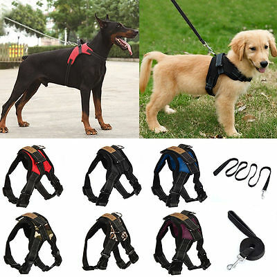 No Pull Adjustable Dog Vest Harness Leash Collar Set for Small/Medium/L
