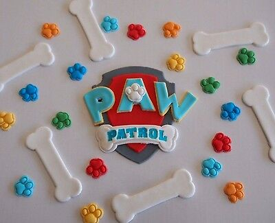 Edible Paw Patrol Toppers KIDS PARTY CAKE DECORATIONS Sugar Bones & Paw Prints