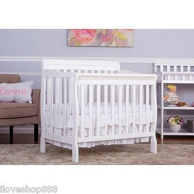 Dream On Me 3 in 1 Convertible Mini Crib Changer Day Bed Baby Toddler Wood White