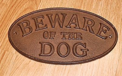 Beware Of The Dog Plaque Cast Iron Oval Sign Western Rustic 9 X 5