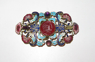 Antique Enamel Champleve and Carnelian Belt Buckle