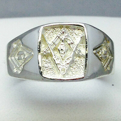 """Large Hand Made 925 Solid Sterling Silver Mens Masonic Ring Size """"w"""" 333"""