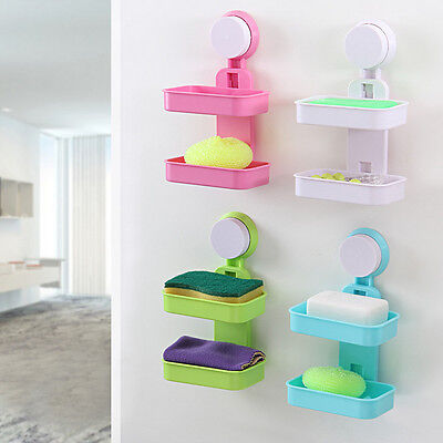 Strong Suction Wall Mounted Soap Dish Box Holder Tray Basket Bathroom Shower OP