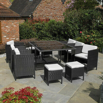Premium 11 Pc Black Rattan Cube Table Chair Garden Patio Outdoor Furniture Set