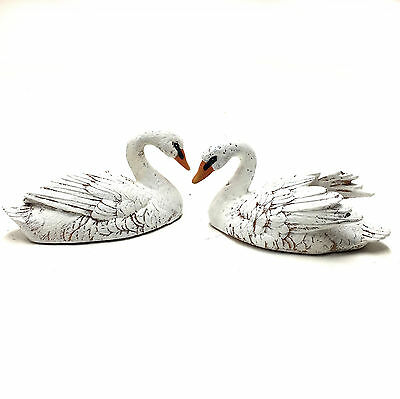 Floating Swan Statue Ornament Figurine Sculpture Garden Pond PAIR 15cm