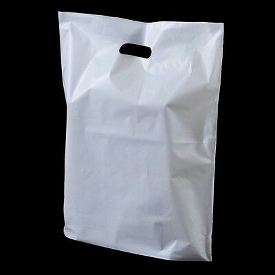 """50 White Patch Handle Carrier Gift Retail Shopping Plastic Bags 15"""" x 18"""" + 3"""""""