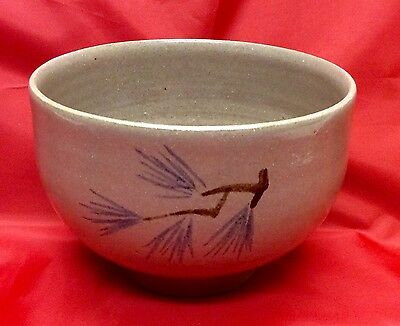 Marked Jugtown, N. C. Art Pottery, 1980 White Freehand Painted Bowl