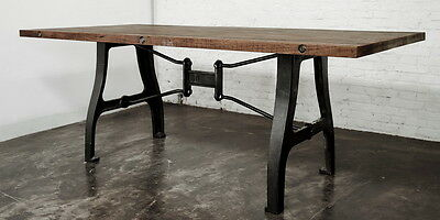 """94"""" L Dining table solid reclaimed oak wood top cast iron legs industrial design"""