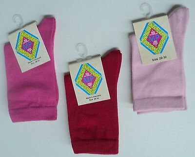Girls socks by MP - Solid Colors Fucsia, Red, Pink - set of 3 pairs