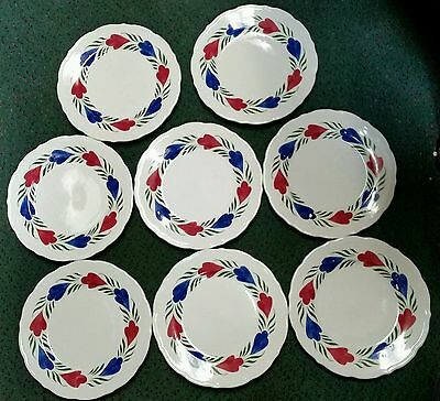 """Set 8 Syracuse China 2001Chantilly SY405 Rest Ware 9"""" Scallop Luncheon Plates"""