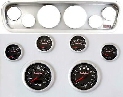 64-66 Mustang Silver Dash Carrier Concourse Black Face Gauges