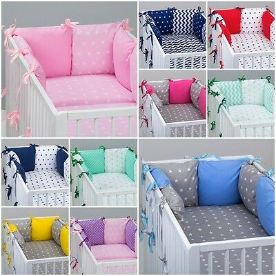 7 pcs COT / COT BED  BEDDING SET PILLOW BUMPER + FITTED SHEET STARS PATTERN