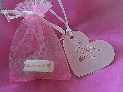 Hen Do Wedding Favours Party Bag TAGS  Personalised CANDLES AND Gift Tags bags