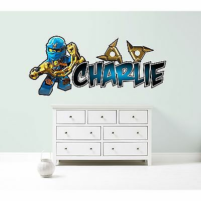 LEGO NINJAGO JAY PERSONALISED WALL STICKER children's bedroom decal art 3 sizes