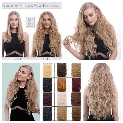 "Koko Couture Thick 3 Piece Beach Wave 20"" Clip Hairpiece Extension Weft Various"
