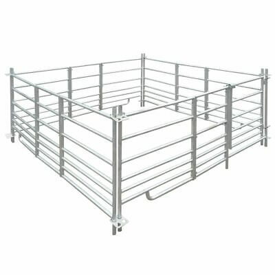 4-Panel Sheep Pen Sheep Hurdles with Lock Galvanised Steel 183 x 183 x 92 cm