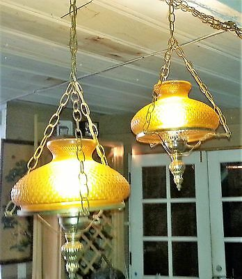 Pair Antique Retro Hanging Slip Shade Chandelier Lamp Frosted Glass Lighting