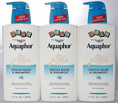 Aquaphor Baby Care Gentle Body Wash & Shampoo 2 in 1 Tear-Free 13.5 oz. Lot of 3