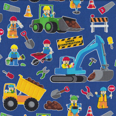 New Lego Construction on Blue Digger Excavator Dump Truck Quilt Fabric FQ or Met