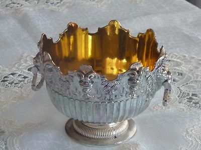 Exquisite Vintage Silverplated & Gilded Footed Serving Bowl