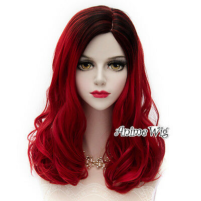Long Red Mixed Black 50CM Curly Fashion Cosplay Lolita Harajuku Punk Rock Wig