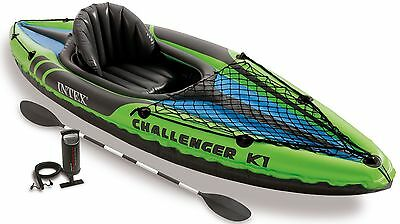 Intex Challenger K1 Inflatable Kayak Set with Aluminium Oars - 1 Person