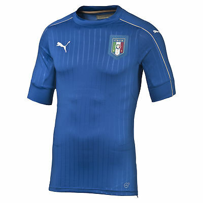 Puma Mens Gents Football Soccer Italy Authentic Home Shirt Jersey 2016 - Blue