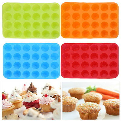 24 Cavity Silicone Muffin Cupcake Chocolate Cookie Pan Baking Mold Mould Tray
