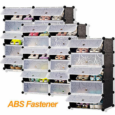 Durable DIY Interlocking Cube Plastic Storage Shoe Rack Boots Clothes Organizer
