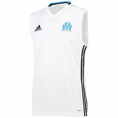 adidas Mens Gents Football Olympique de Marseille Sleeveless Jersey Top - White